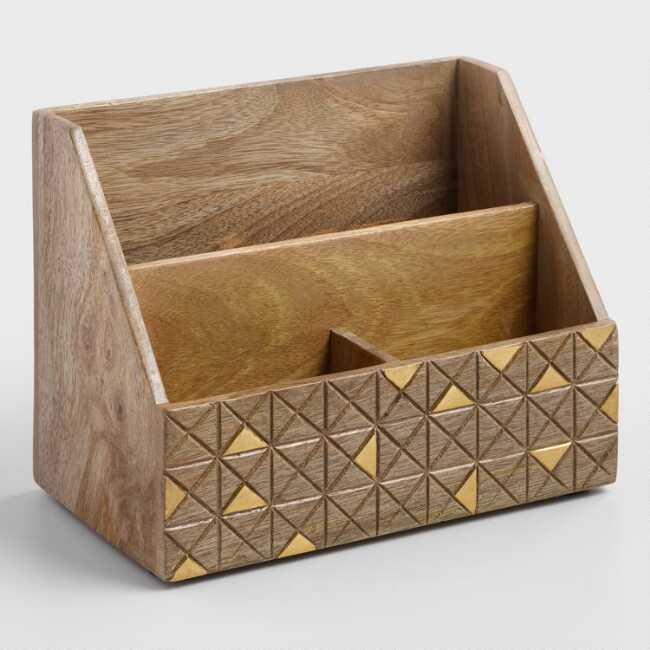 Wood And Brass Jordan Desk Organizer Desk Organization Desktop Organization Home Office Accessories