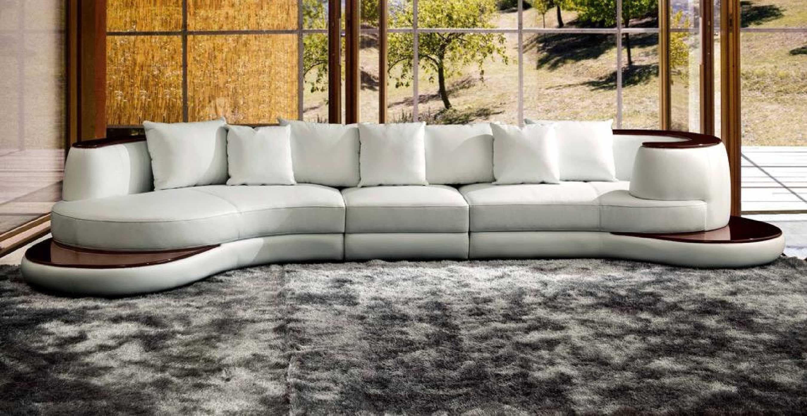 Rounded Corner Leather Sofa