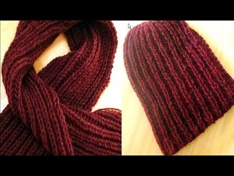 Cómo Tejer BUFANDA y GORRO para HOMBRE-Scarf and Hat for Man 2 Agujas (333)  - YouTube 4585c13d230