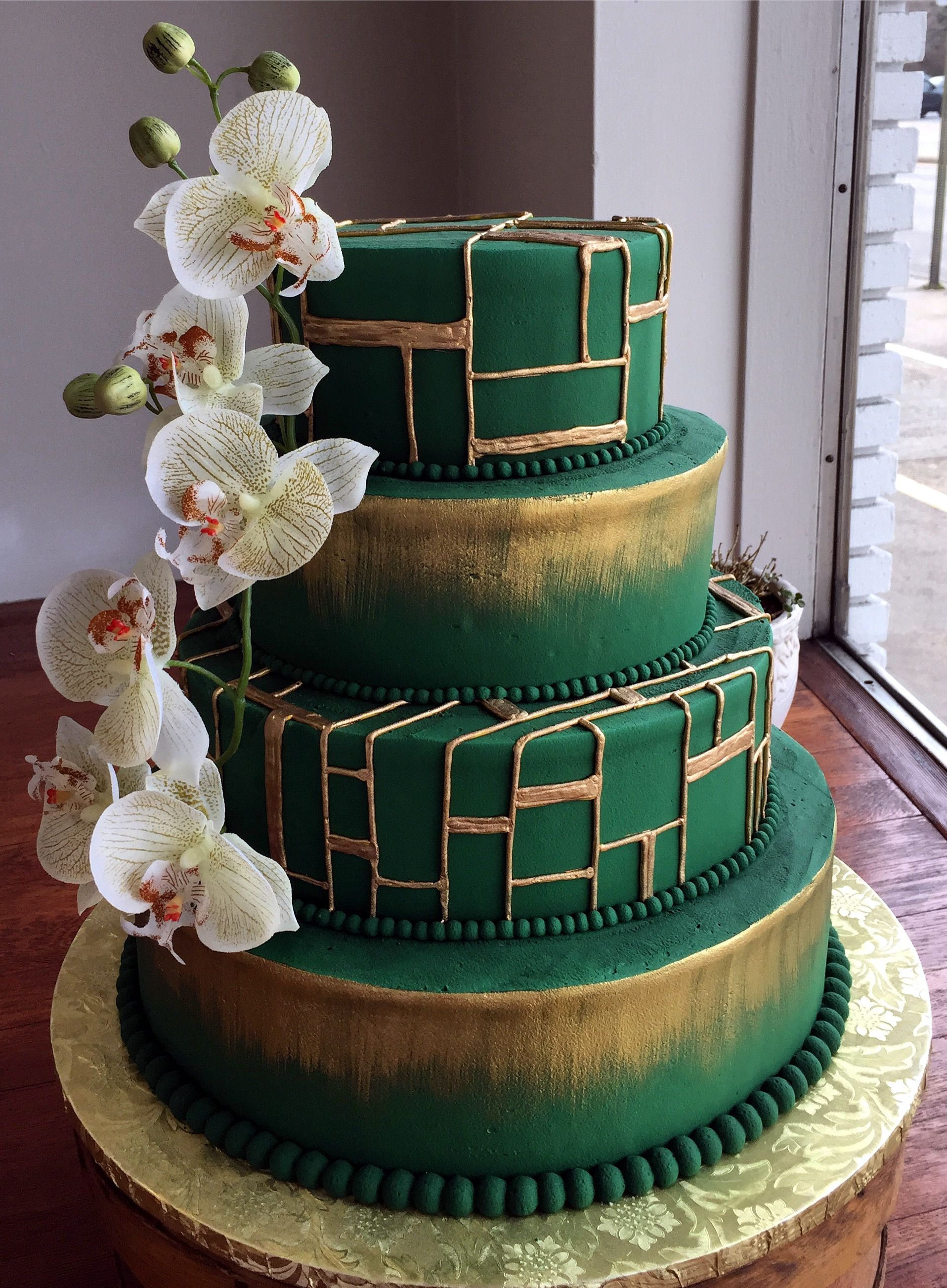 Miraculous Green And Gold Wedding Cake Westhampton Pastry Shop Richmond Va Funny Birthday Cards Online Elaedamsfinfo