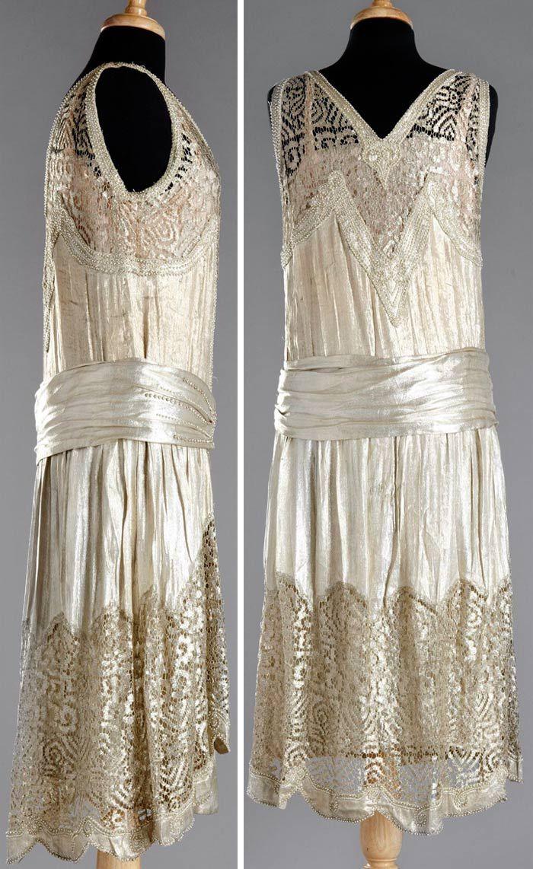 Charleston dress, 1920. Attached under dress. Gold silk lamé