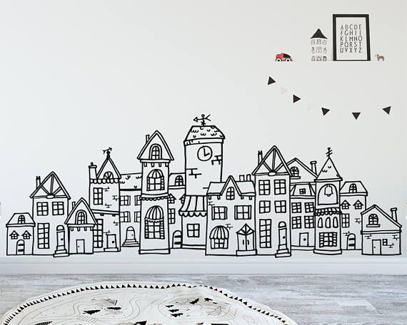Scandinavian Style Cute Village Wall Decal Hand Drawn Town Etsy In 2020 Nordic Nursery Scandi Nursery Scandinavian Nursery