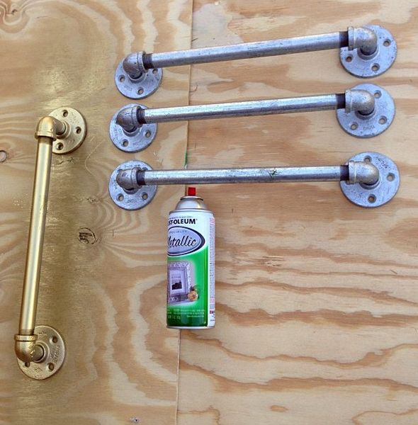 DIY gold oversized pulls from plumbers pipe // GET OUT