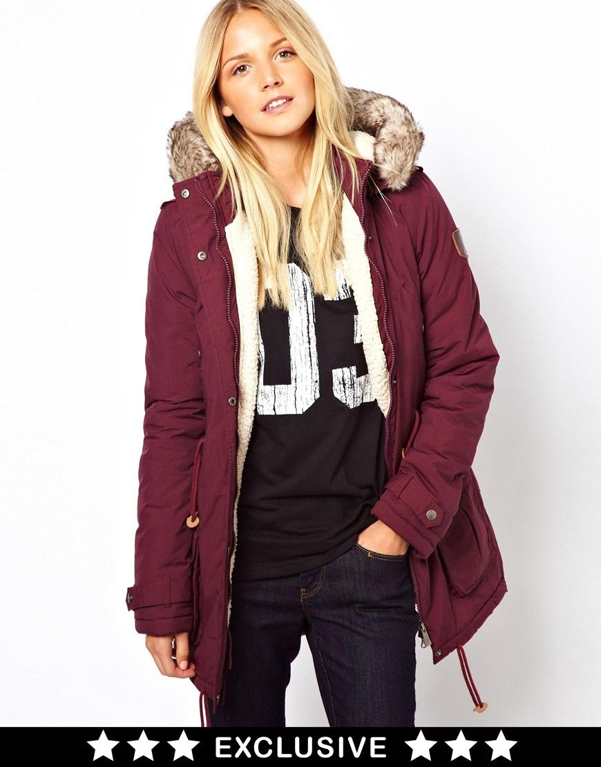 Women's Red Puffa Parka Exclusive To Asos | ASOS, Red burgundy and ...