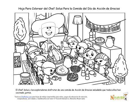 Página Para Colorear Del Chef Solus De La Cena Familiar de Acción de ...