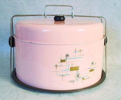 Late 50s Pink Retro 3 Part Cake Carrier Cake by TheBountifulBird