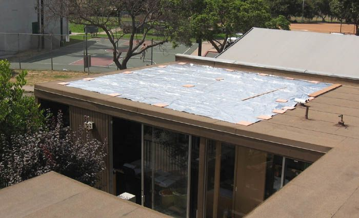 Large Custom 22 X 24 Cooltarp Temporarily Installed Over An Office Space For Tests Tesla Solar Roof House Roof Solar Heat Gain