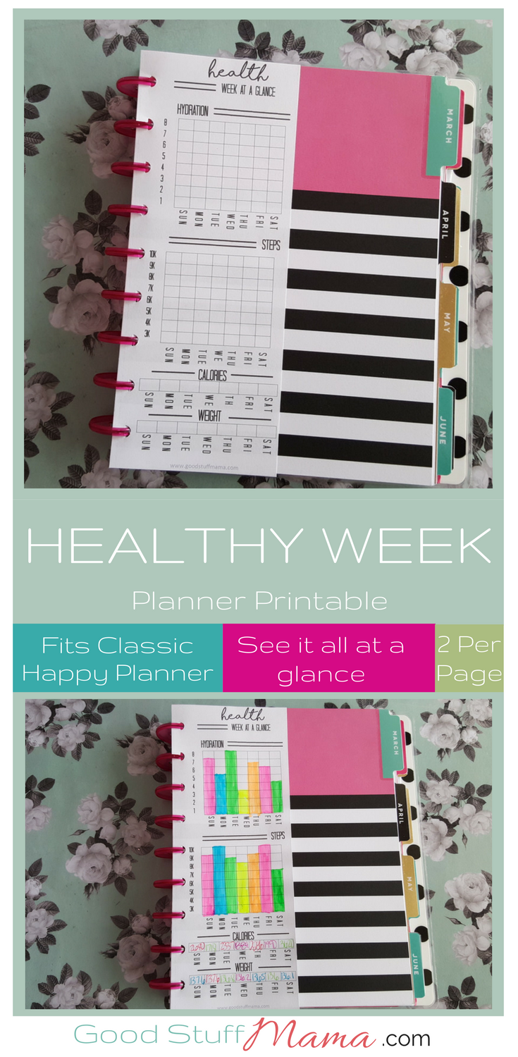 Healthy Planner Printable  Free Download is part of Fitness planner printable, Create 365 happy planner, Fitness planner free, 365 happy planner, Free planner, Fitness planner - Healthy planner printable  awesome at a glance way to track your health stats with this planner printable  fits classic size happy planner