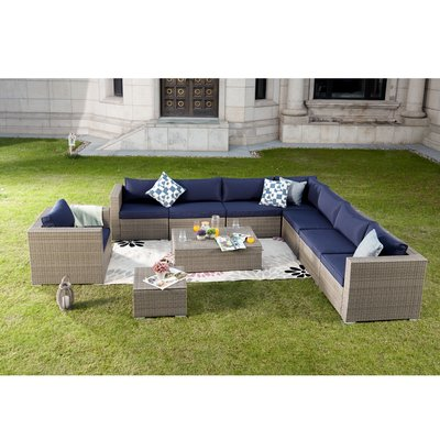 Brayden Studio Kensal 10 Piece Rattan Sectional Seating Group With Cushions Cushion Color Blue In 2020 Outdoor Sofa Sets Sofa Set Modular Sectional Sofa