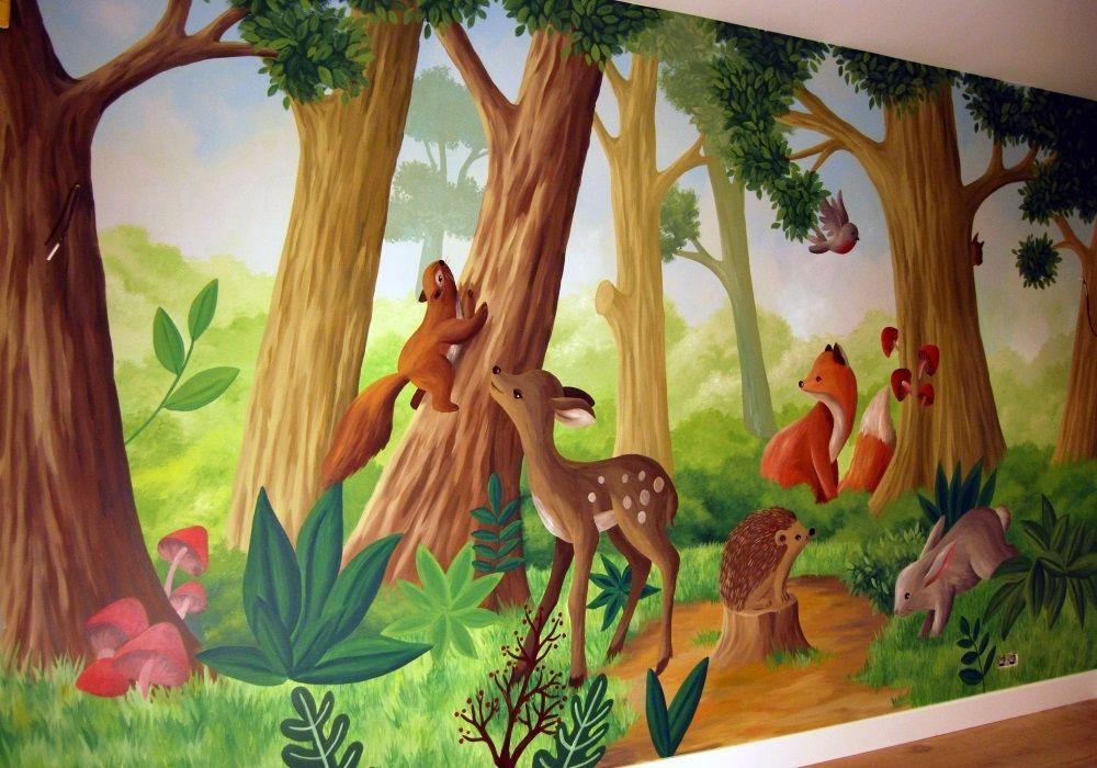 Muurschildering bos landschap vol schattige dieren on Lizart http://lizart.be/wp-content/uploads/muurschilderingen-van-eigen-ontwerp/muurschildering_bos-met-dieren.jpg