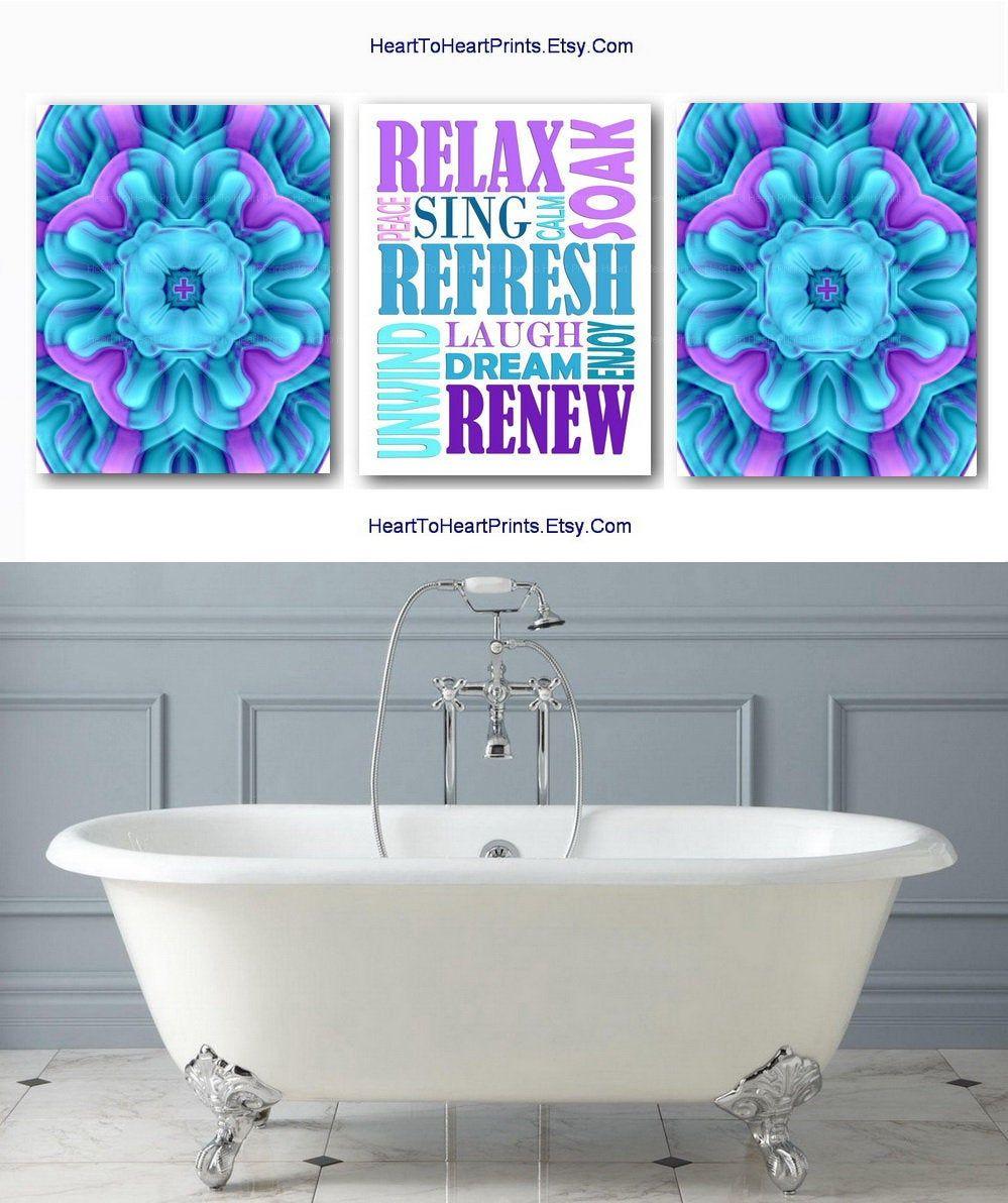 Bathroom set of 3 prints teal purple bathroom wall art