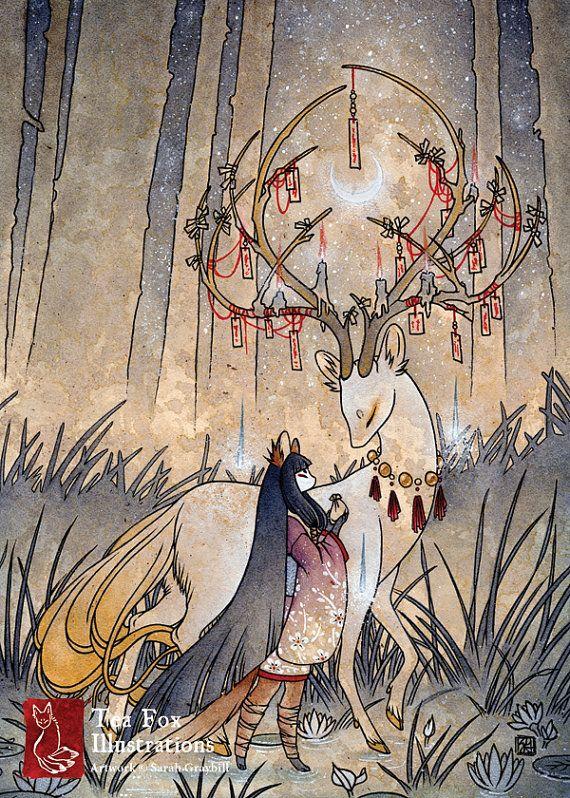Le souhait / Kitsune renard fille, Yokai, cerfs japonais Style asiatique / 5 x 7 Fine Art mat impression