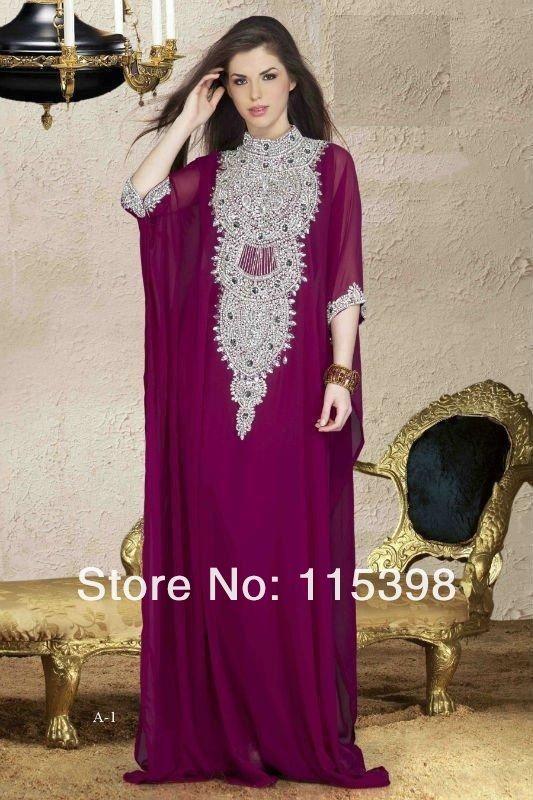 KAT4716 Deep Purple Elegant Cheap Crystal Beaded Muslim Abaya Dubai Dress  High Neck Evening Chiffon With Long Sleeve Waistline  Empire is customized   Yes ... 5c7a9a5f1196