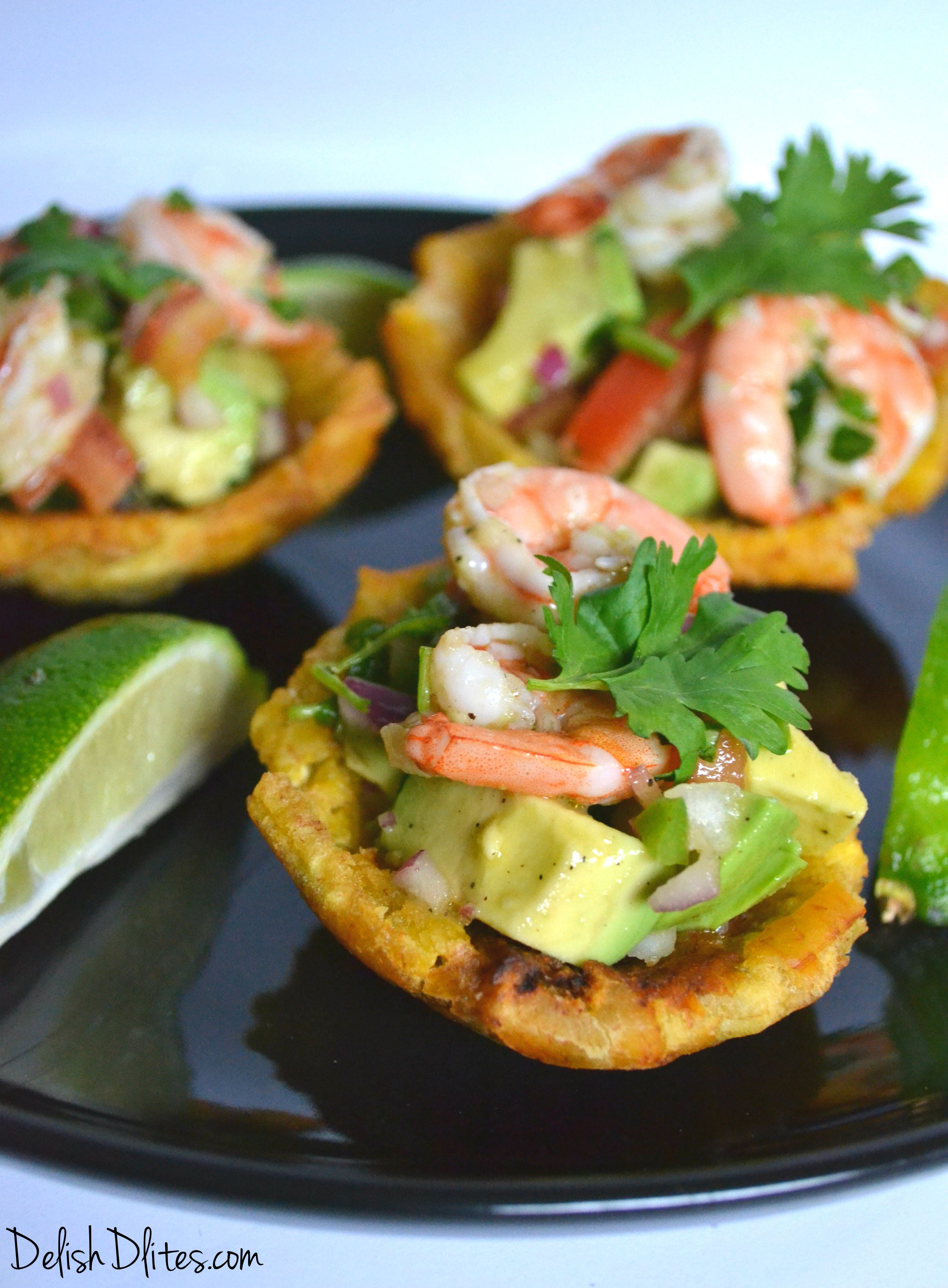 Whole30: These fried plantain cups with shrimp and avocado salad are an awesome Latin hand-held appetizer or dinner option that will truly impress your guests!