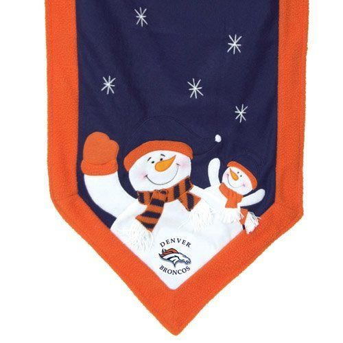 """72"""" x 15"""" NFL Denver Broncos Snowman Christmas Table Runner by CC Sports Decor. $34.95. Denver Broncos Table Runner Item #01751 Officially licensed merchandise Features embroidered stars, parent and child snowman on each end dressed in your favorite teams official colors and logo Plain colored center with matching decorative ends Dimensions: 72""""L x 15""""W Material(s): polyester"""