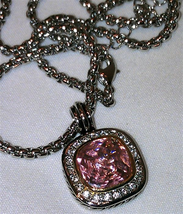 During Breast Cancer Awareness Month -   Get this PINK Diamond Face Pendant with Cable Necklace for only $25!