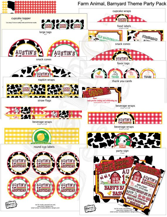 Barnyard Animal Birthday Party Decor Party kit DIY party and