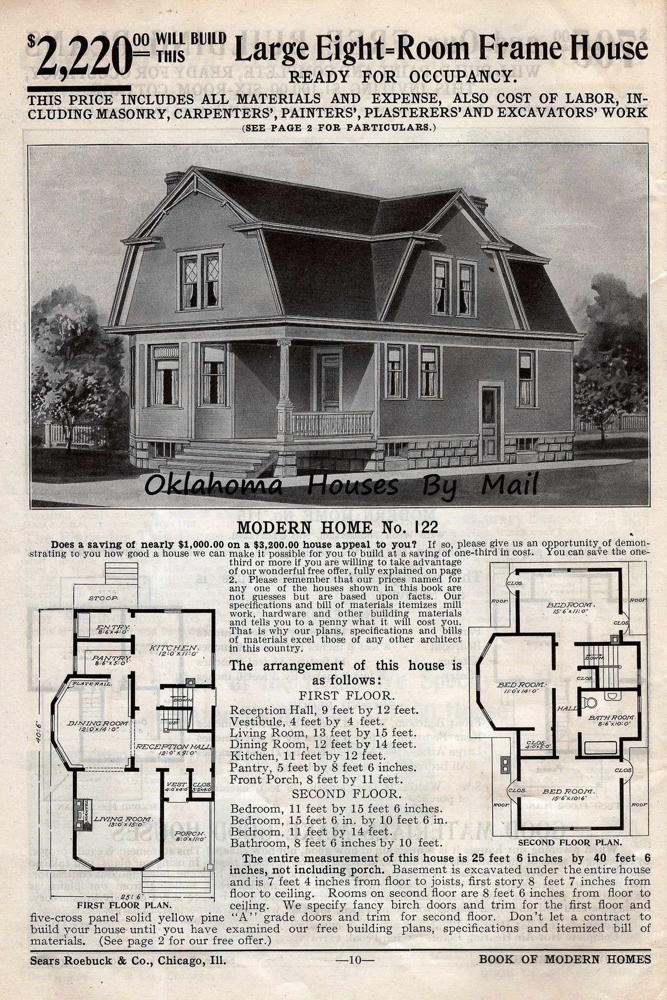 Sears 1908 4th Edition Pg10 14 Gambrel Roof Vintage