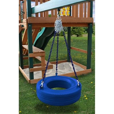"""Residential Plastic Tire Swing - Blue. Residential Plastic Tire Swing. Our blue Tire Swing is made from rotomolded plastic tire, comes complete with shackles, chains, spring clips, and swivel.    5' 1"""" Plastisol coated chains.  Weight limit: 125 lbs.  **FOR RESIDENTIAL USE ONLY**"""