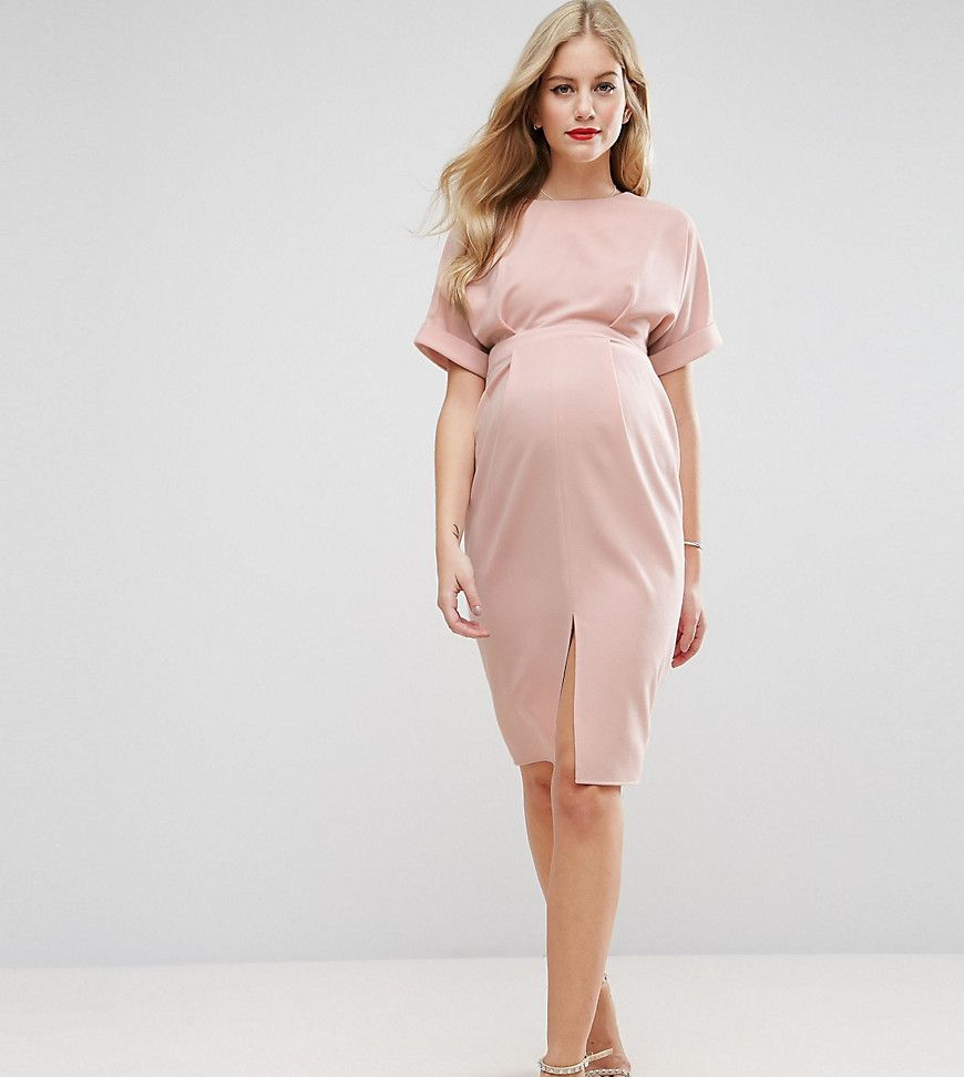 Get this asos maternitys jersey dress now click for more details asos maternity smart dress with split front pink maternity dress by asos maternity stretch woven fabric lightly textured finish ombrellifo Images