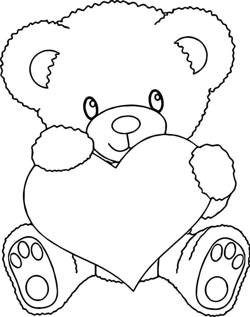 Bear Holding Heart Coloring Page In 2020 Heart Coloring Pages