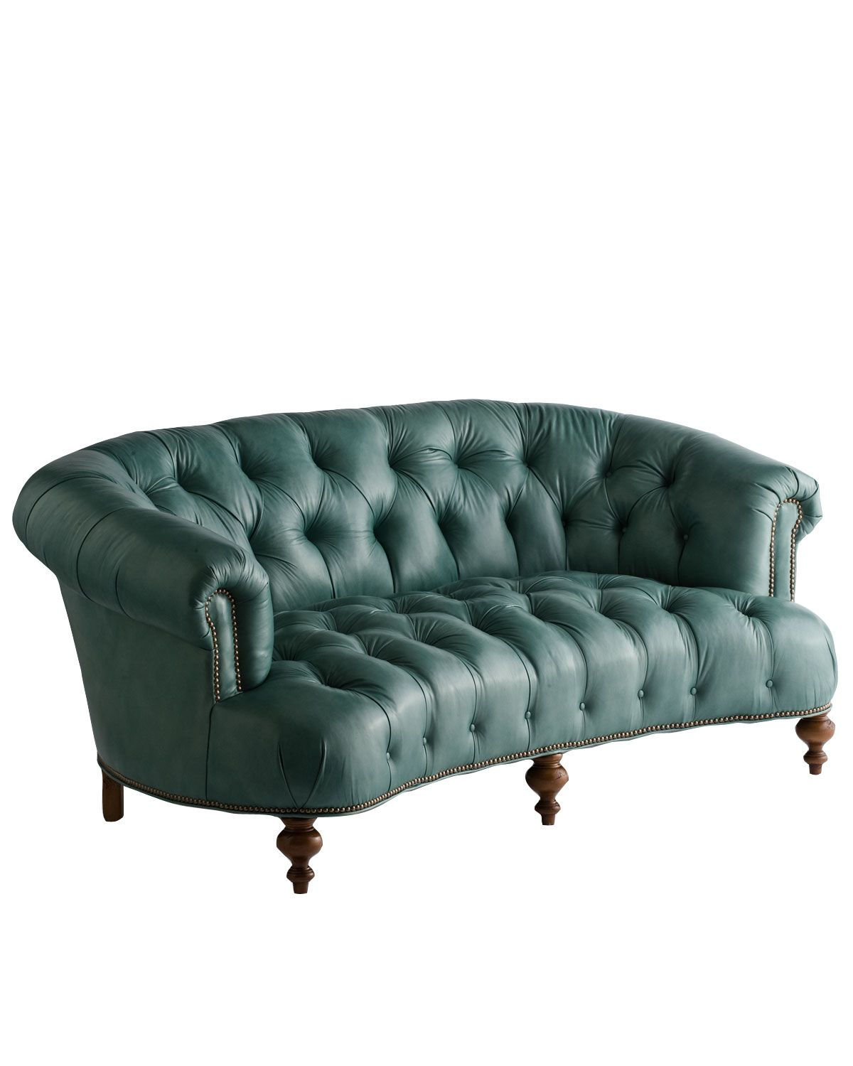 Best Old Hickory Tannery Turquoise Leather Tufted Sofa 71 400 x 300