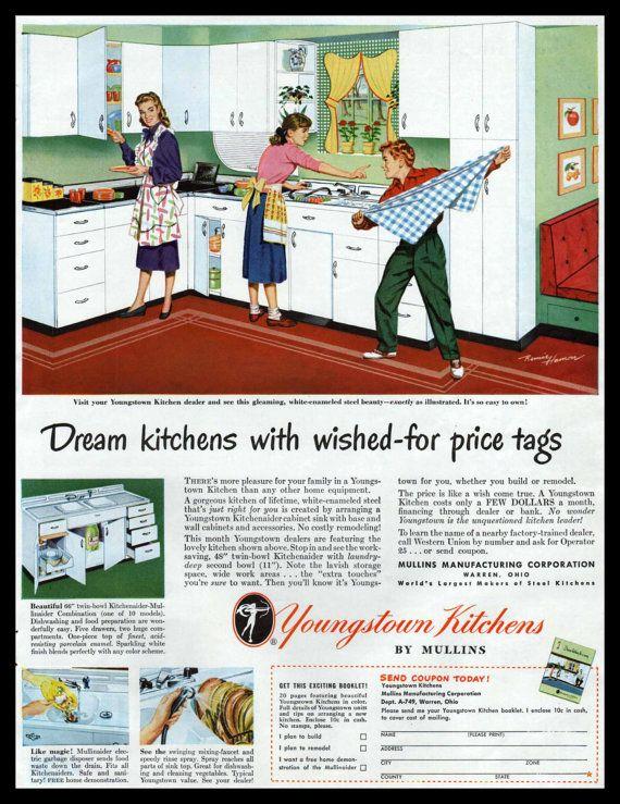 1949 Youngstown Kitchens Ad Steel Kitchen Cabinets Warren Ohio Retro Vintage Style Kitchen Large Steel Kitchen Cabinets Youngstown Steel Kitchen