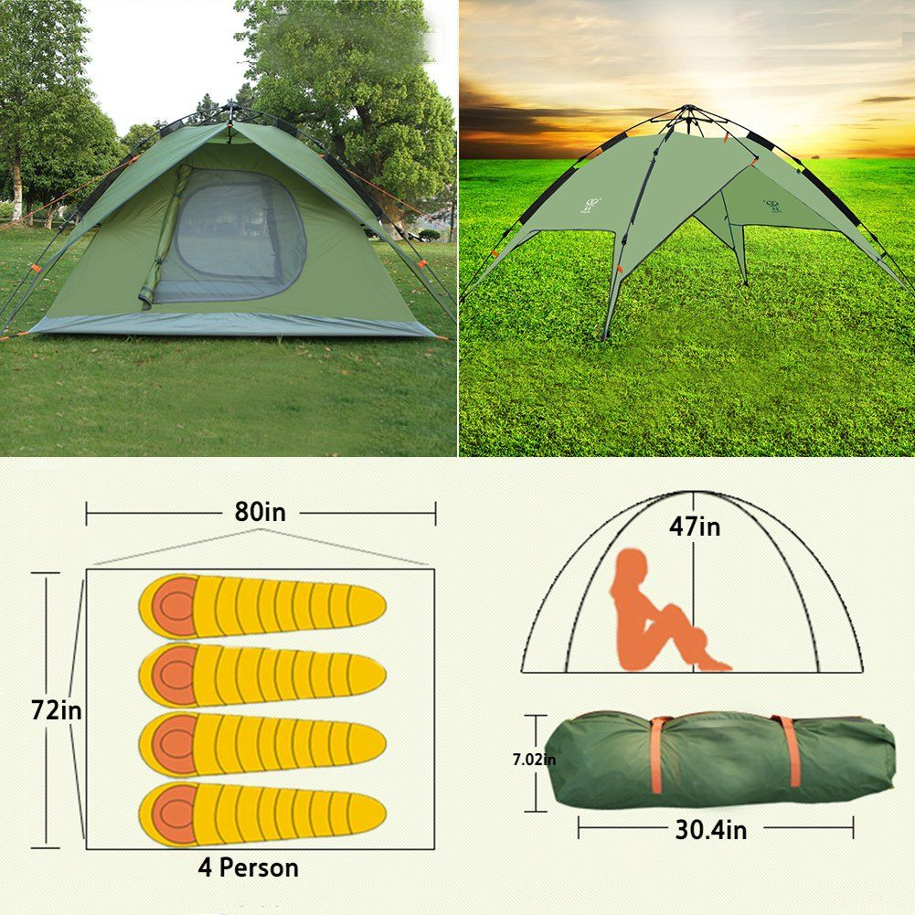 4 Person Automatic Popup Tent Instant Family Tent 4 Season Backpacking Tent For Outdoor Sports Green Click On The Image F Backpacking Tent Family Tent Tent
