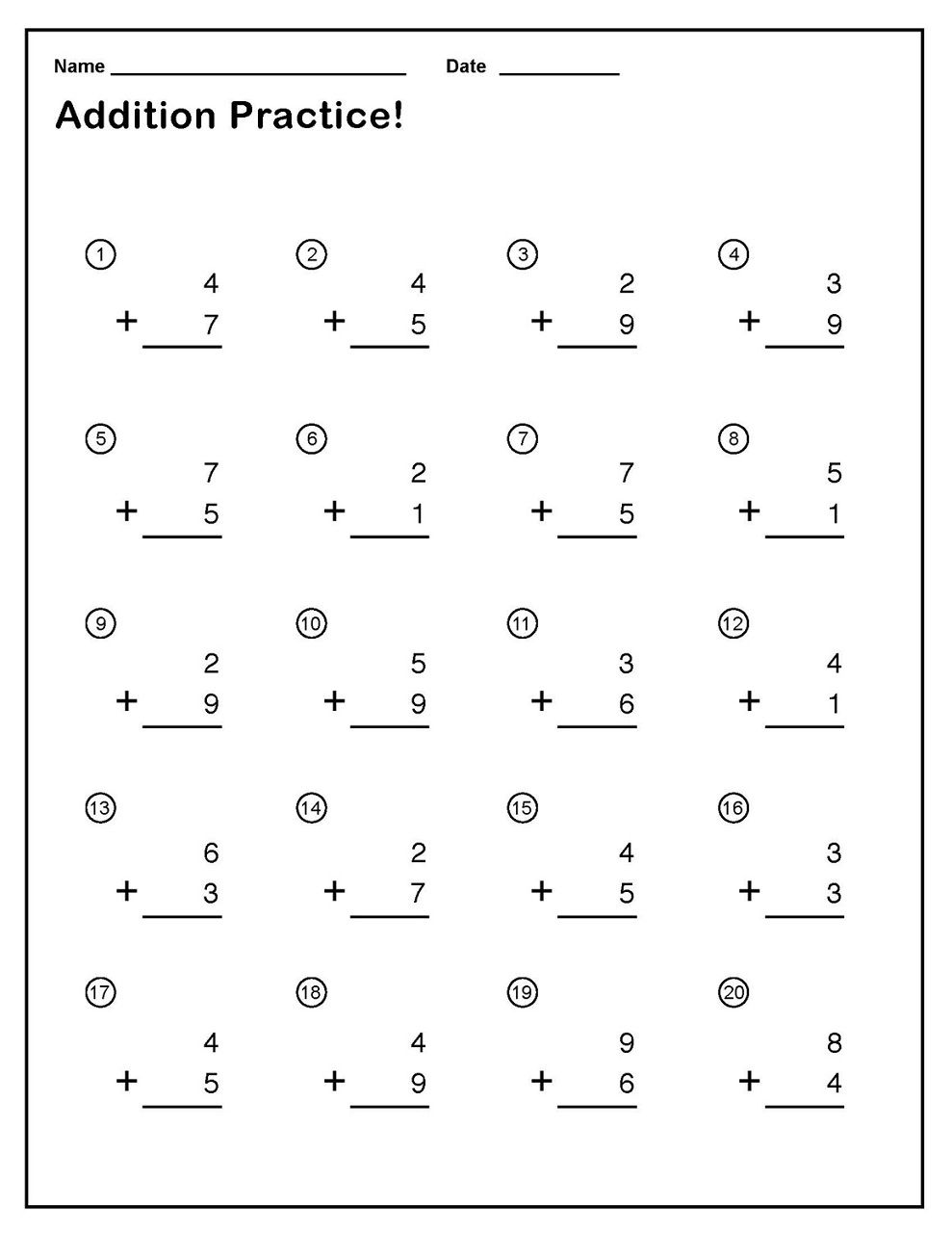 {Download PDF} Free Printable Single Addition Worksheets