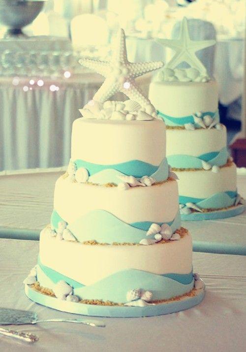 2014 sugar starfish beach wedding cake, round fondant beach wedding ...