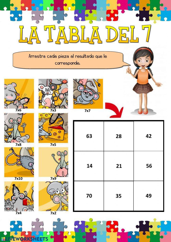 La tabla del 7 Ficha interactiva Tablas de multiplicar