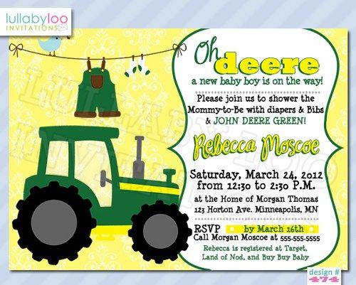 Tractor Baby Shower Invitations 474 – John Deere Printable Birthday Invitations