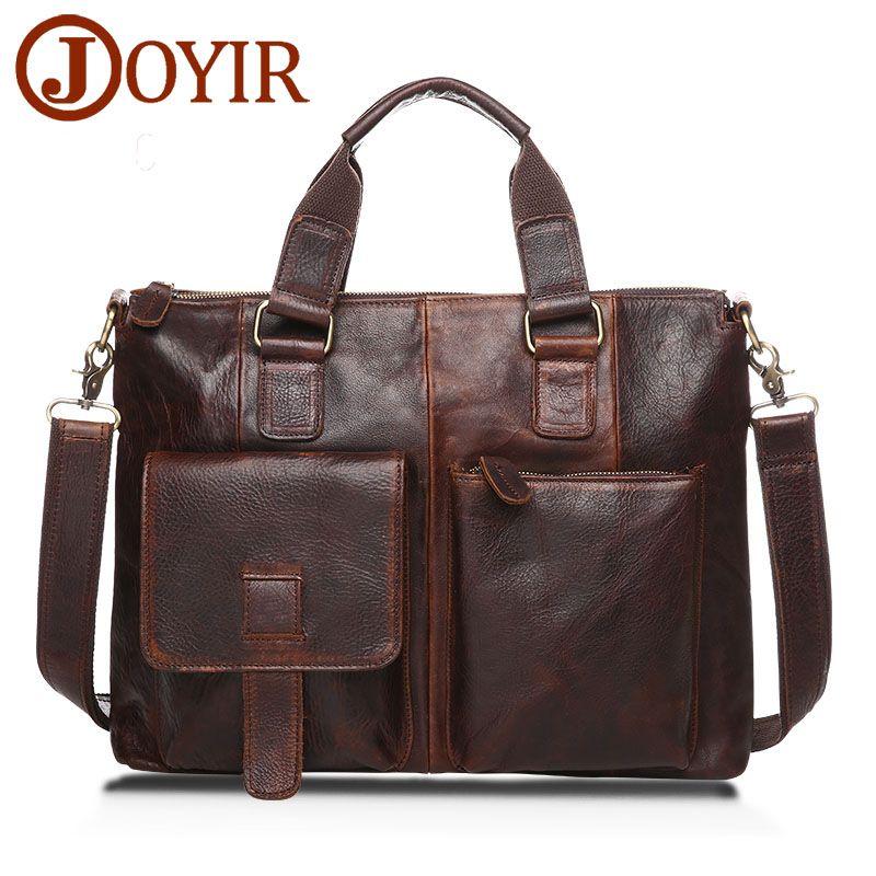 men style Joyir Luxury Laptop Bag Mens Briefcase Genuine Leather ...