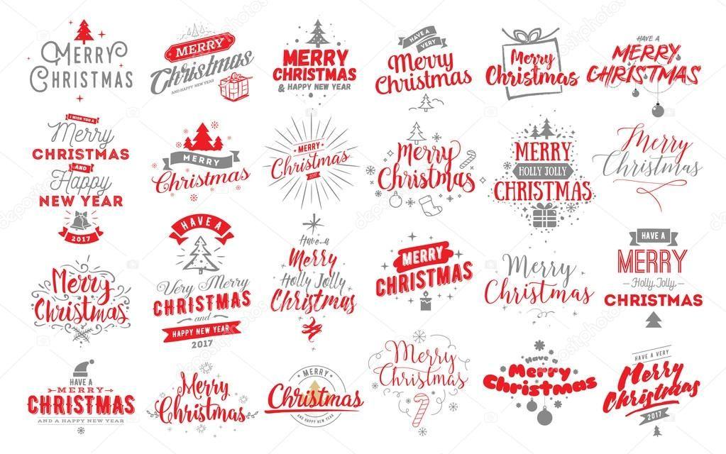 ダウンロード , メリー クリスマスの文字体裁エンブレム セット