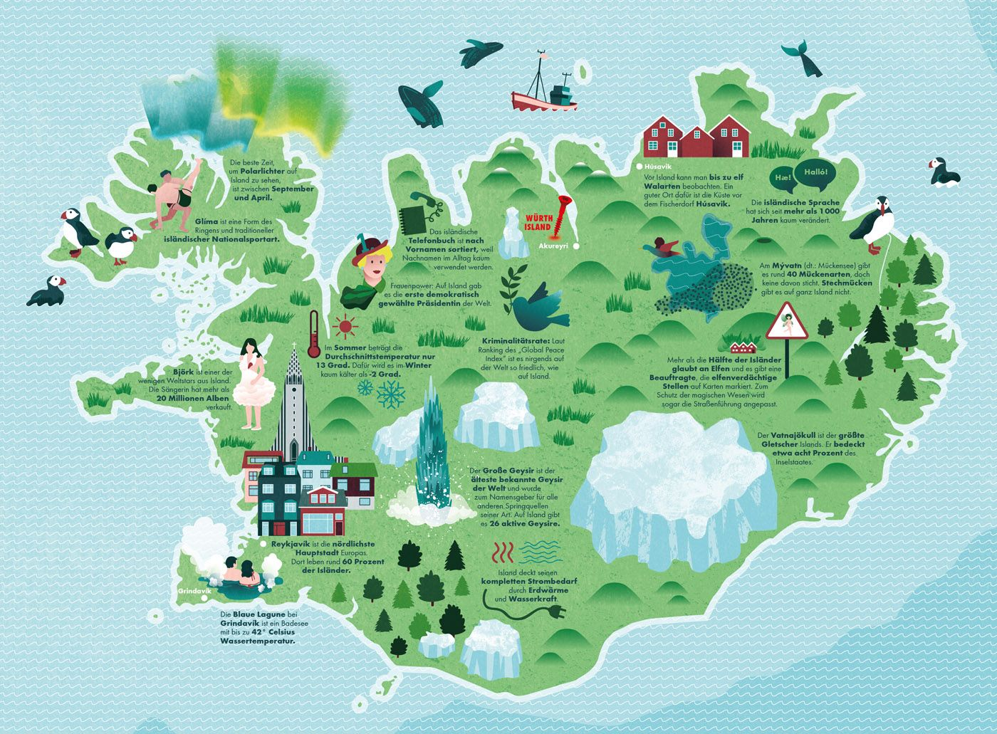 Illustrated Map Of Iceland With Interesting Sightseeing Objects
