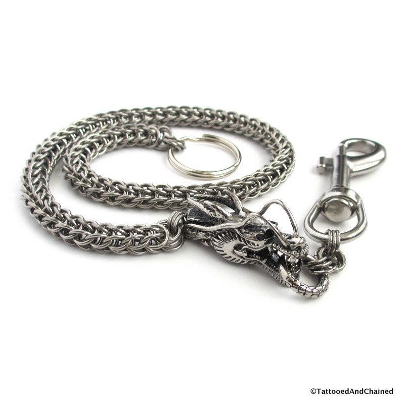 119afec982fd Stainless steel wallet chain with dragon head, chainmail Full ...