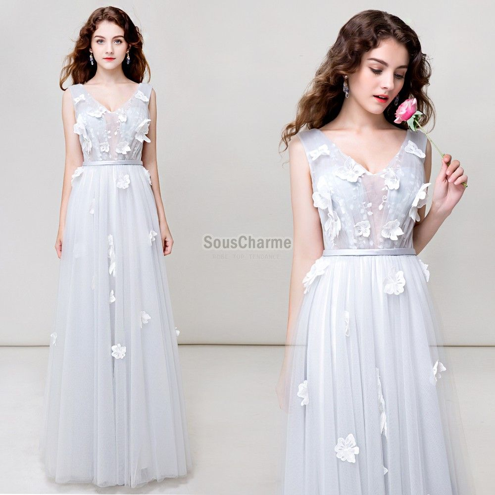 Robe longue blanche tulle