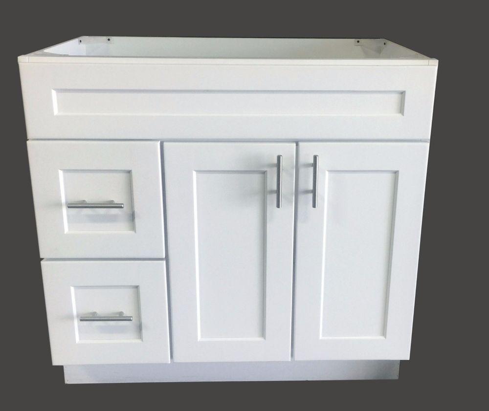 New White Shaker Single-sink Bathroom Vanity Base Cabinet 36\