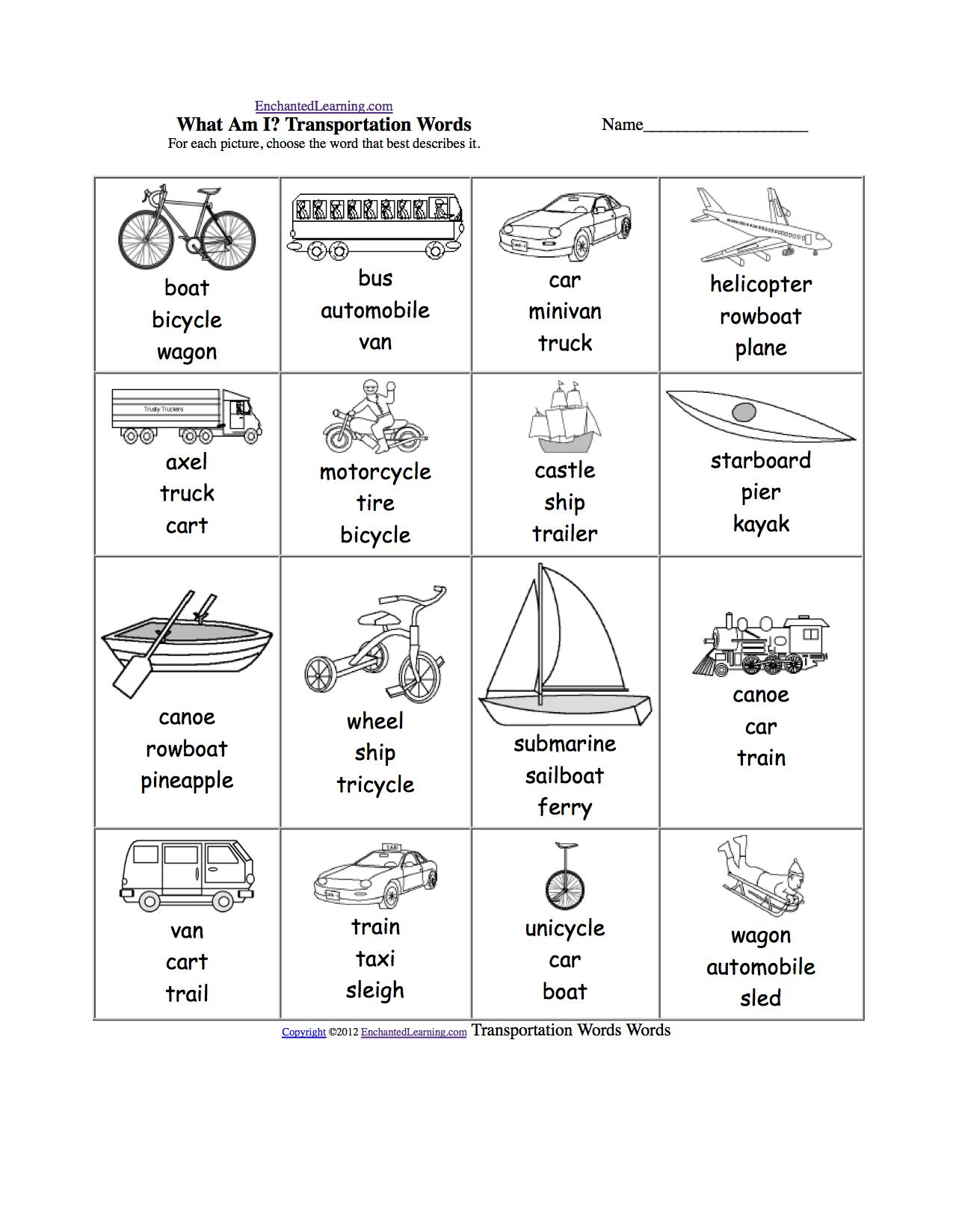 spelling worksheets transportation vehicles at transportation camping. Black Bedroom Furniture Sets. Home Design Ideas
