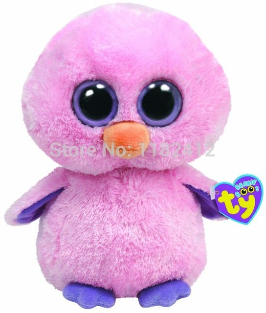 """TY Plush Animals Cute Beanie Boos Posy the Pink Chick Soft Toys 6"""" 15cm"""