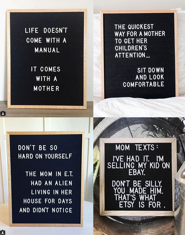 Funny and encouraging MOM quotes on letterboards Funny