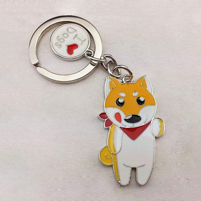 Shiba Inu dog pendant key chains for women men girls silver color metal  alloy pet dog c3f12f201