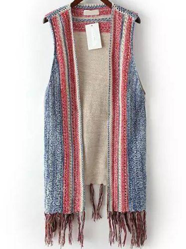 8ca3ed163afb11 Light Blue Red Hollow Tassel Knit Sweater Vest 19.33