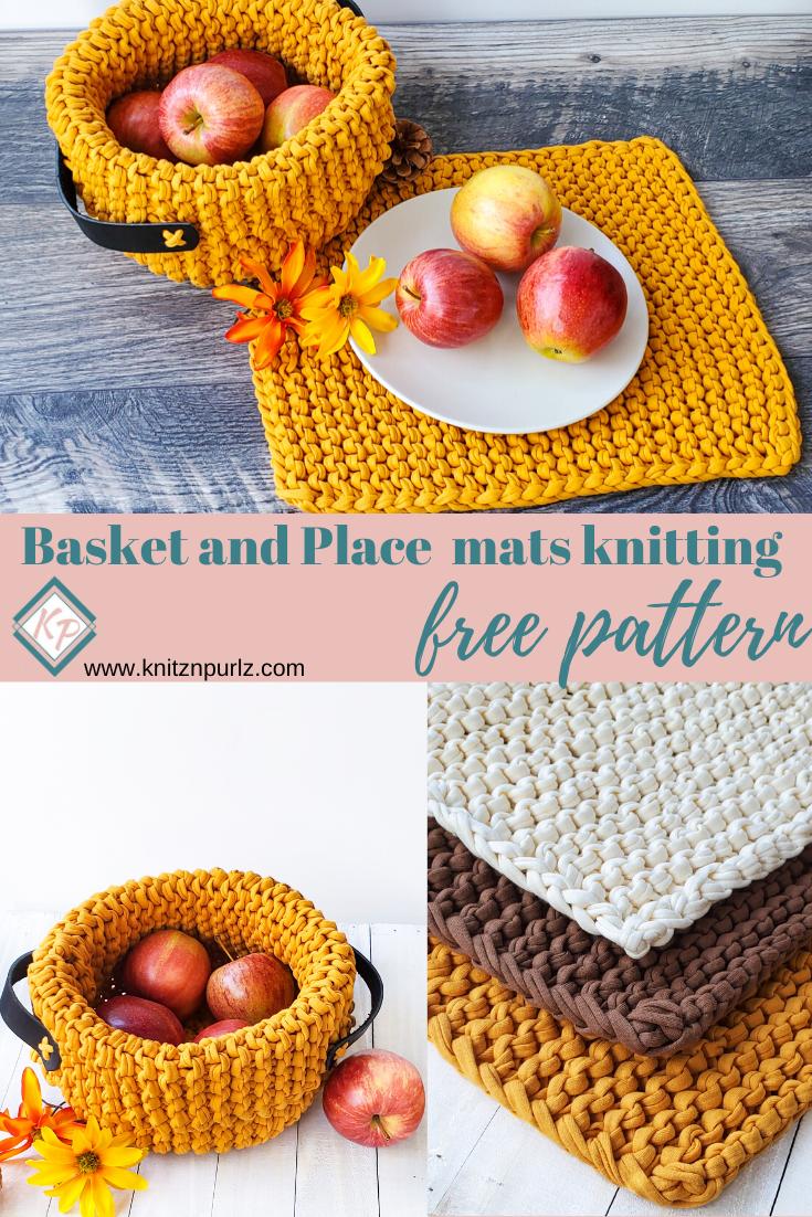 Basket And Placemats Set Free Knitting Pattern Knitznpurlzt Shirt Yarn And Crochet Patterns Knit Decor Knit Basket Knitting Kits