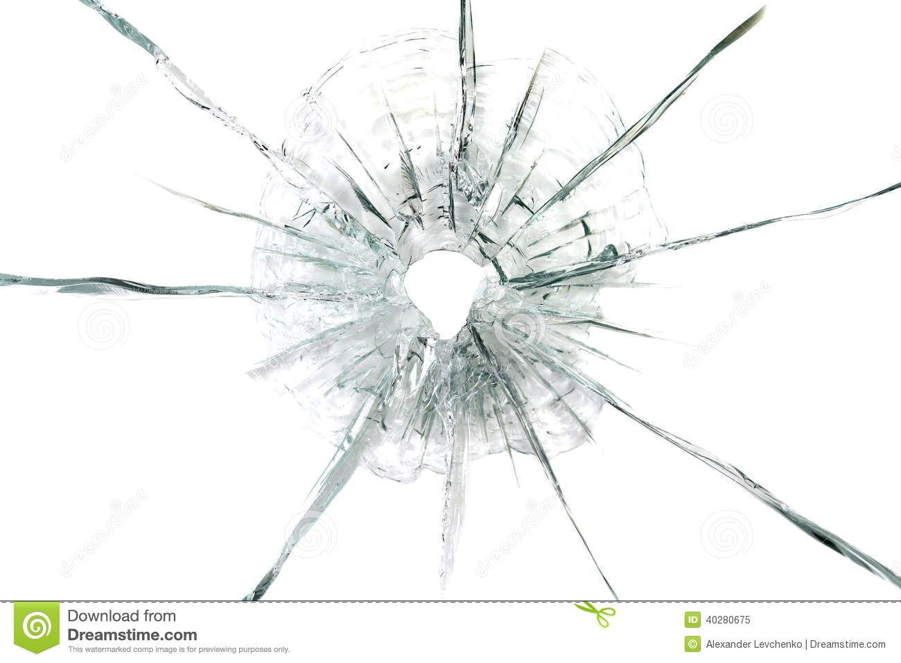 Large Bullet Hole In Glass Background