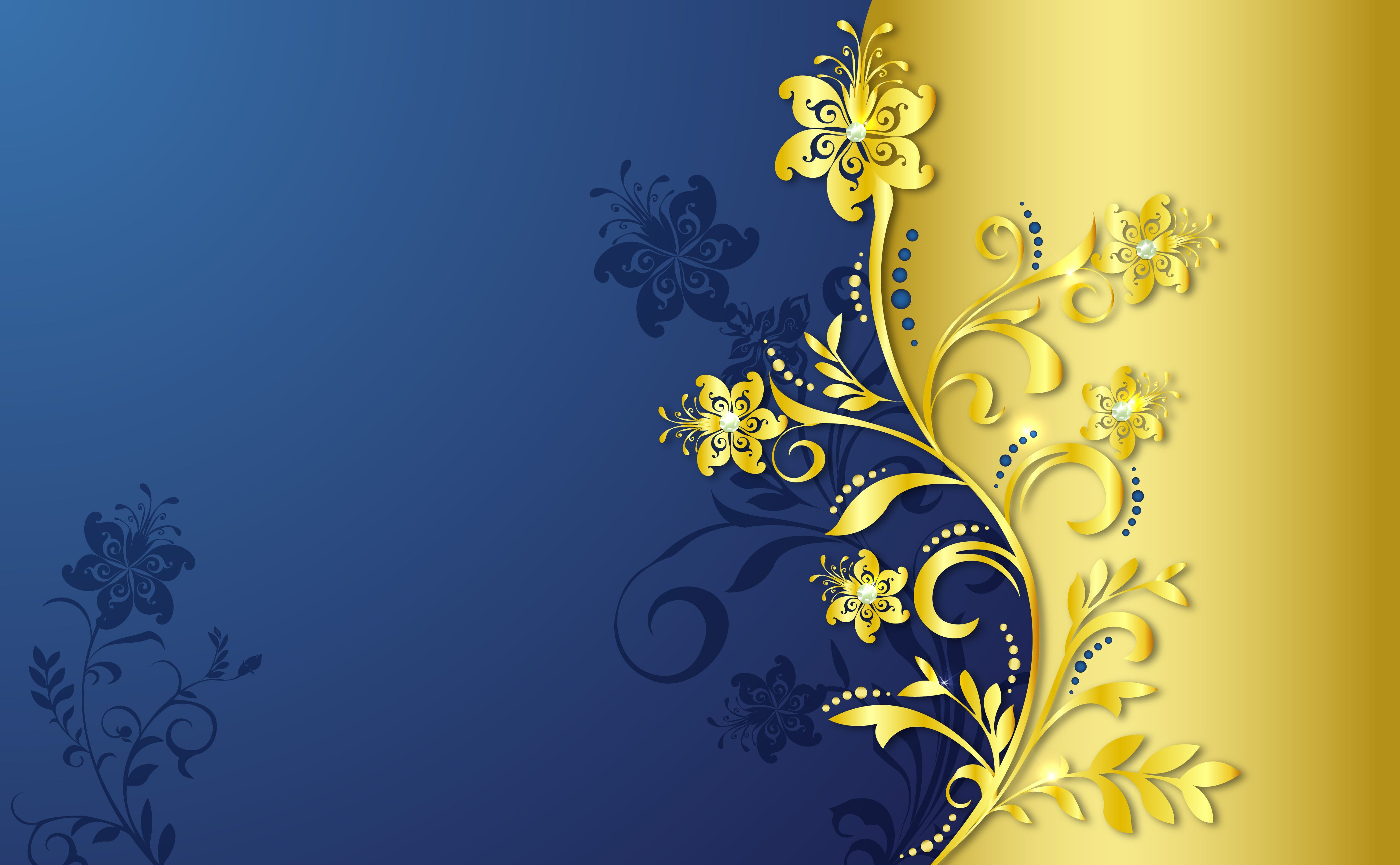 Gold Pattern On Blue Background Gold pattern, Blue