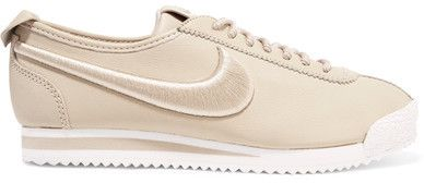 Nike Cortez 72 Si Embroidered Leather Sneakers Beige