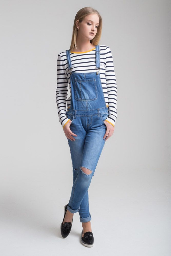 c0659bfcb6 Womens Baggy RIPPED Denim Jeans Full Length Pinafore Dungaree Overall  Jumpsuit