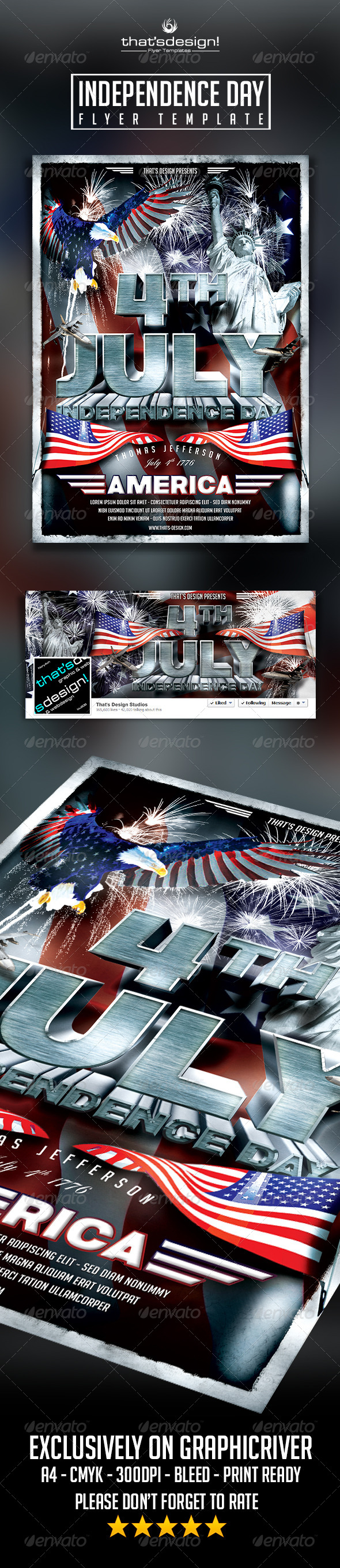 July  Independence Day Flyer Template V  Flyer Template And