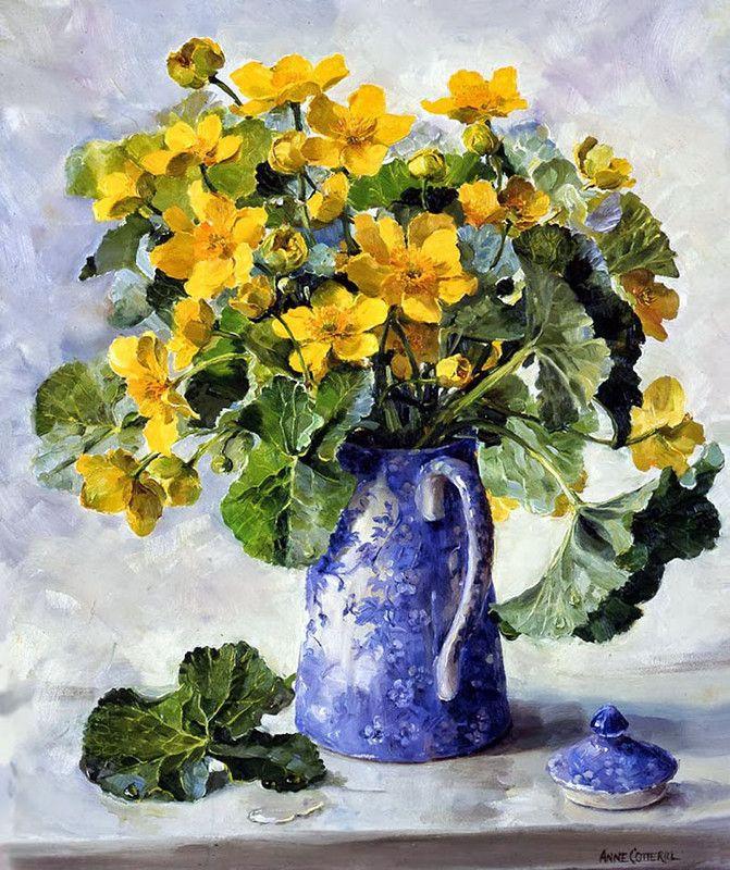 Художница Anne Cotterill   유화, 그림, 유화 꽃